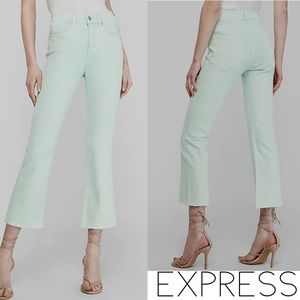 Express Jeans Mint Green Cropped Flare High Rise